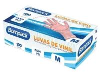 LUVA BOMPACK VINIL M C/PO CX C/100UN