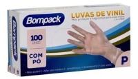 LUVA BOMPACK VINIL P C/PO AZ C/100 1UN