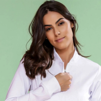1051 Jaleco Feminino manga longa Ziper embutido tecido Premium com Elastano G Branco